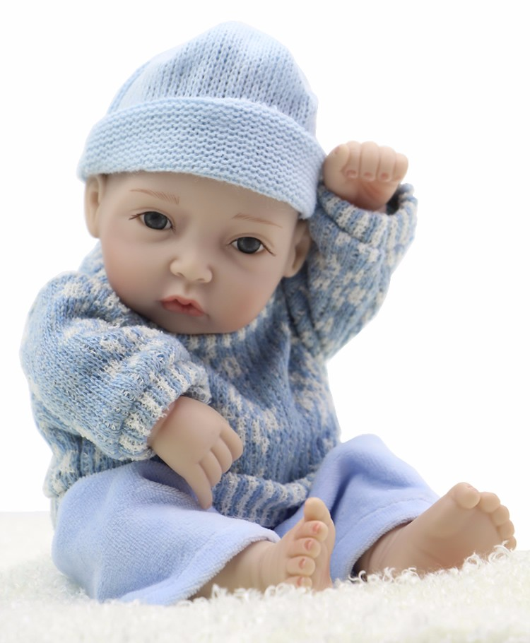 Unique 11 Inch Mini Doll Reborn Babies Full Silicone Body Realistic Newborn Dolls Smiling Boy Baby Toys Kids Christmas Gifts