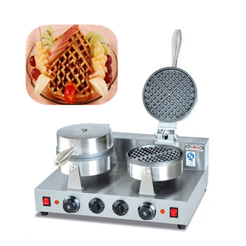 Newly designed double waffle baking oven commercial waffle maker waffle baker baking equipment 20l double pizza oven commercial automatic biscuits bread cakes oven for sale