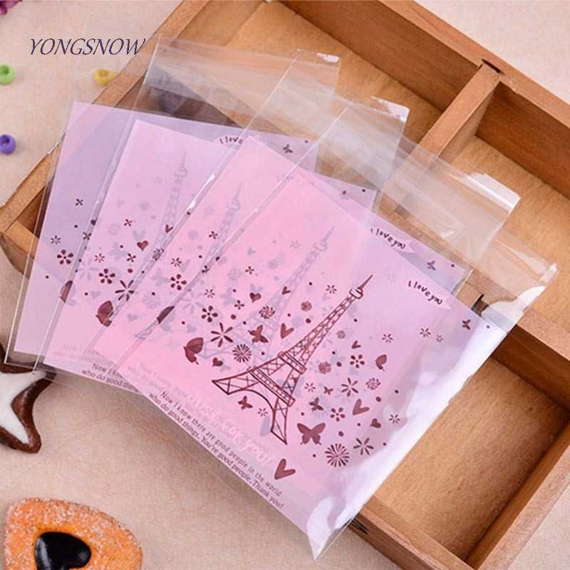 50pcs/lot 10*10cm Self-adhesive Cookies Candy Biscuit Packaging Plastic Bags Gift Wrapping Wedding Party Decor Supplies