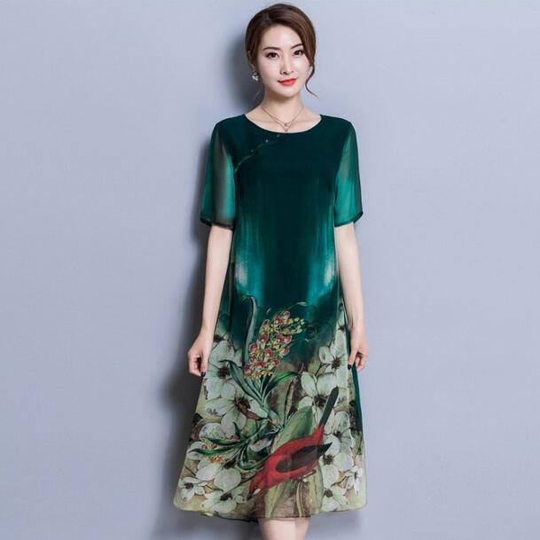 Elegant Summer Green Faux Silk Dress For Women High Quality Floral