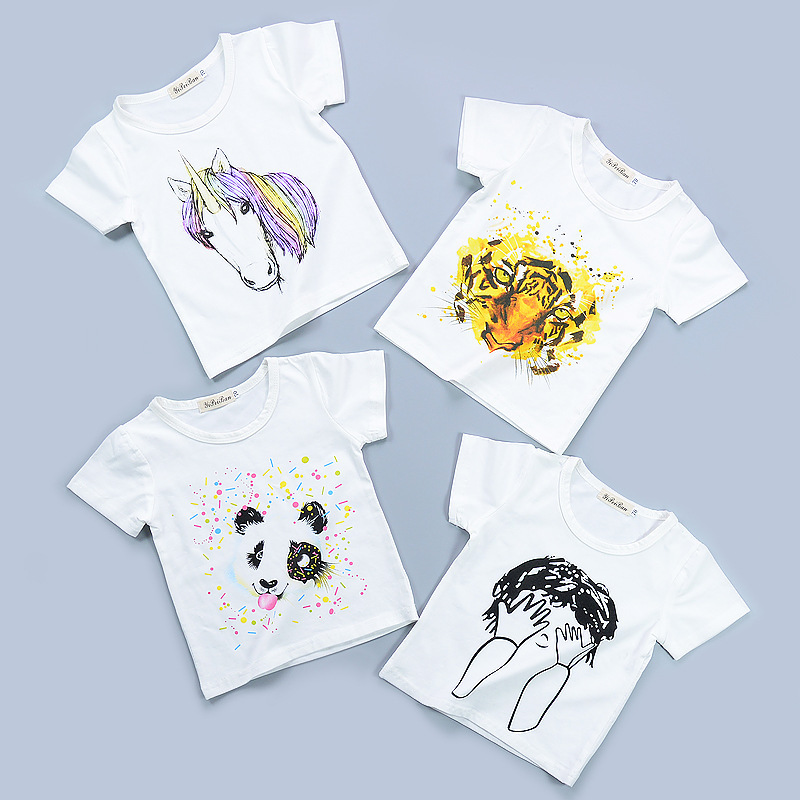 Fashion summer childrens short sleeve t-shirt Baby cotton The tiger horse panda pattern for boy girl tops cute kid clothes