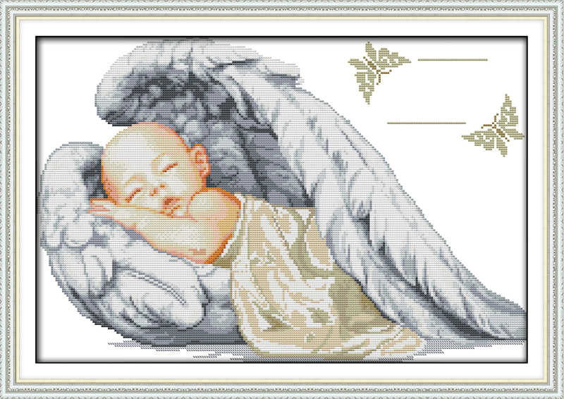 Little Angel свидетельство о рождении Счетный крест DMC цвет DIY 11ct 14ct 18ct Cottom Шелковый комплект Вышивка декор рукоделие