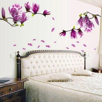 Exquisita moda Magnolia flores extraíbles arte vinilo mural para habitación de la casa decoración de pared pegatinas telón de fondo TV búsqueda caliente