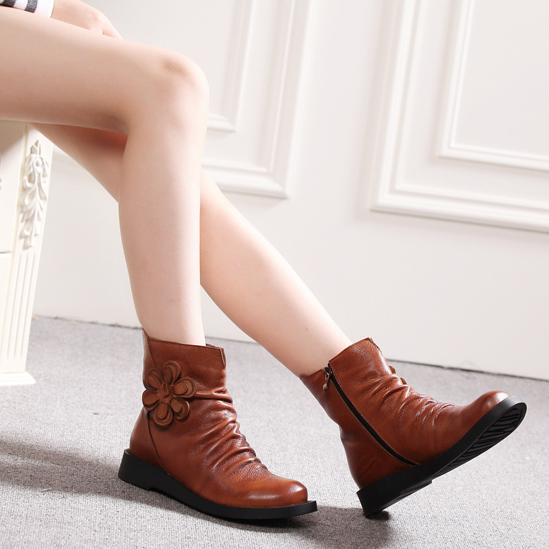 European National Style Floral Shoes For Women Natural Leather Lady Thick Heel Boots Winter Female Ankle Booties Big Size 41