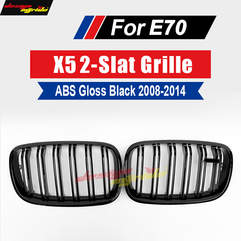 For E70 X5 grille abs dual slat front kidney mesh grilles Gloss black for X5 E70 2007 2013 SUV vehicle xDrive50i xDrive30d