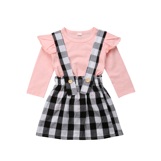 c5817a982 Fall Winter Baby Girls Clothes Toddler Long Sleeve T-shirts+Plaid Suspender  Skirts 2pcs Outfit Princess Children Clothes
