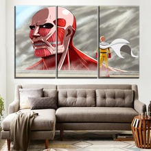 цена на 3 Piece Modular Canvas Print Crossover Attack on Titan And One Punch-Man Saitama Poster Modern Artwork Home Decor Boys Room Wall