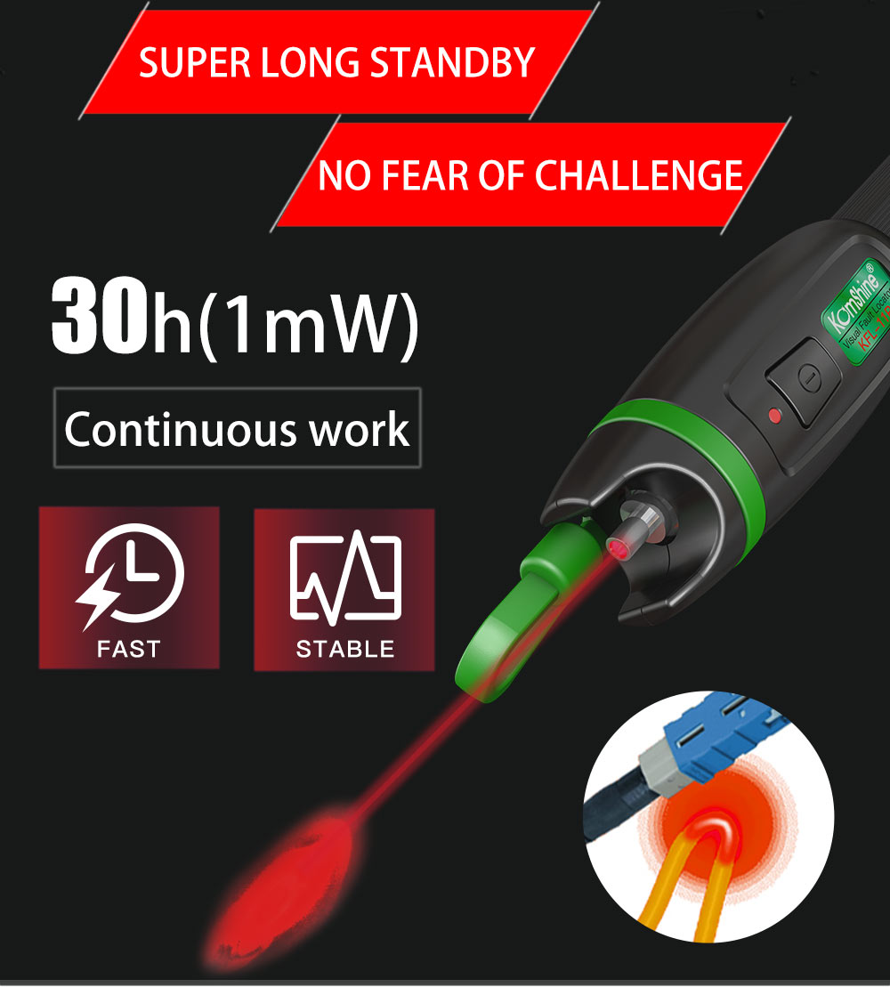 Image 5 - 30KM Testing range Pen type Optic Fiber Visual Fault Locator 30mW Komshine KFL 11P 30 Fiber Optic Laser aluminum alloy material-in Fiber Optic Equipments from Cellphones & Telecommunications