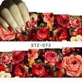 1 folha Sexy Rosa Vermelha Água Transferência Nail Art Stickers Decalques Decoração DIY Marca D' Água Wraps Manicure Ferramentas # STZ-073