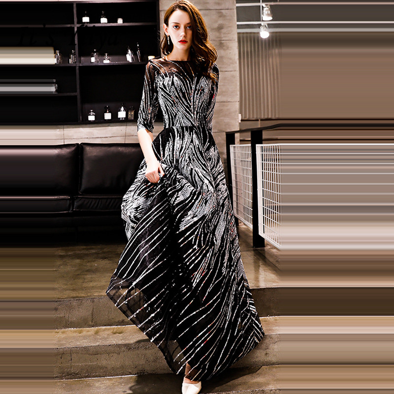 It's YiiYa Evening Dress 2018 Sliver Black Sequined O-neck Half Sleeve A-line Floor-length Dinner Gowns LX1304 Robe De Soiree