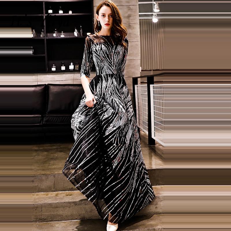 It's YiiYa Evening Dress 2018 Sliver Black Sequined O-neck Half Sleeve A-line Floor-length Dinner Gowns LX1304 robe de soiree