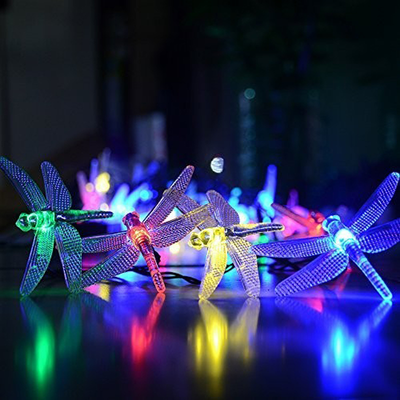 20 Leds Christmas Fairy Multi Color Led Fairy Light Dragonfly Outdoor Garden String