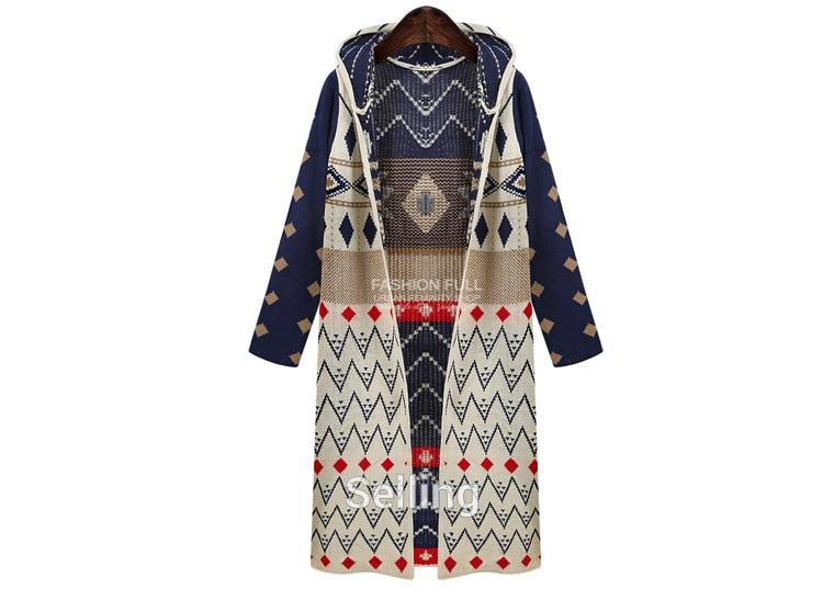 Горячая распродажа женский длинный вязаный кардиган Свободный Повседневный с капюшоном Геометрическая куртка пальто Бохо свитер - Цвет: Бежевый