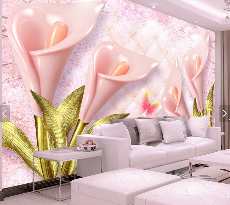 Embossed common callalily floral 3d wall paper for living room ...