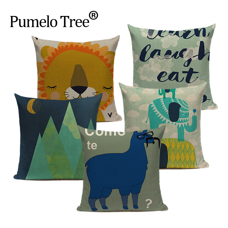 Stylish Pillow Case Tropical Style Cotton Cute Animal Alpaca Almofadas 45Cmx45Cm Square Home Linen Cotton Printed Pillow Case