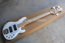 Best Price Wholesale High Quality White Music Man 5 Strings Electric Bass guitar with active pickups 9V battery 1112