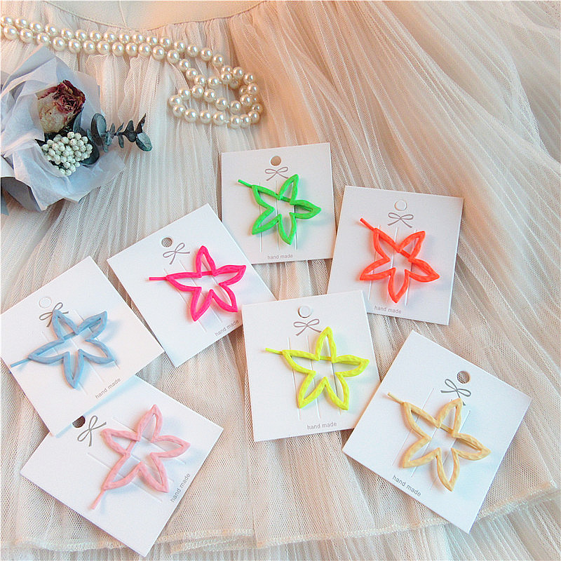 Korean Simple Beautiful Headwear Cute Fluorescent Color Scrub Paint Pentagram Hairpin Fashion Women Girls Hair Accessories