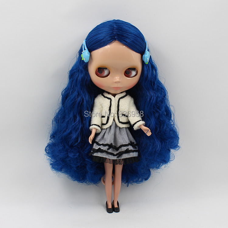 Dark Skin Nude Doll For Series No.1714 BLUE HAIR without bangs dark skin