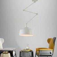 Modern minimalist wrought iron pendant lamp Nordic telescopic folding bedside creative adjustable DIY personality single head