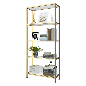 5 Schicht Goldene Bücherregal Marmor Rack Metall Display