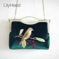 2016 Velour Embroidery Handbag Lady Trendy Vintage Retro Old Classic Elegant Fabric Animal Birds China Emeraid