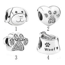 Authentic S925 Sterling Silver DIY Jewelry Paw Pet Dog Puppy Charm fit Lady Bracelet Bangle Girl Gift(China)