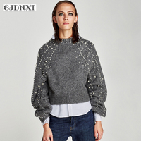 CJDNXI Pearl Beading Gray Turtleneck Sweater Women Pull Femme Hiver Jumper Winter Long Sleeve Cashmere Pullovers