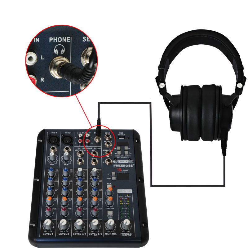 Freeboss MDH9000 Monitor Headphones with 50mm Drivers Single-side Detachable cable SMR6 DJ Mixer Audio Mixer