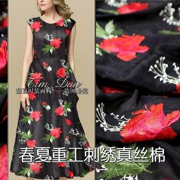 Heavy flower embroidery silk cotton fabric fashion dress thin high-grade embroidery silk fabric wholesale cotton cloth