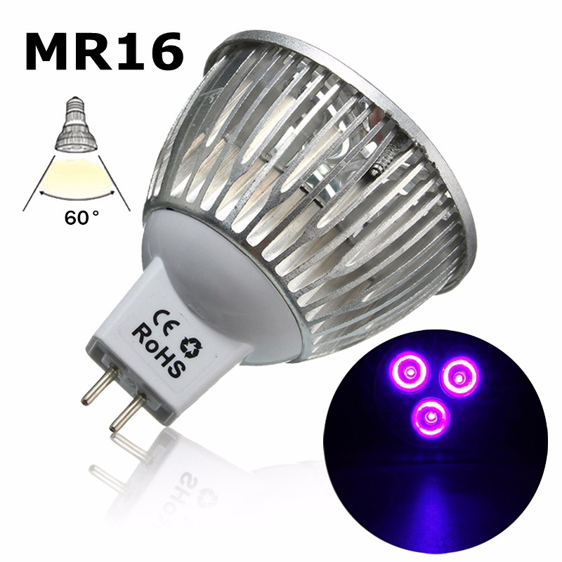 Smuxi MR16 3W UV Ultraviolet Purple LED Spot Light Bulb Lamp AC/DC12V