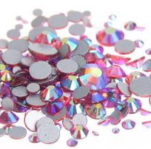 Rose AB Color ss3,ss4,ss5,ss6,ss8,ss10,ss12,ss16,ss20,ss30 Flat Back Crystal Non Hotfix Nail Art Glue On Rhinestones
