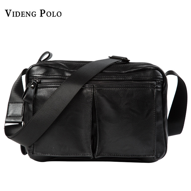 VIDENG POLO Men Bag 2017 New Brand Leather Mens Shoulder Messenger Bag Leisure Fashion Black Crossbody Bags For Ipad Male Bolsas