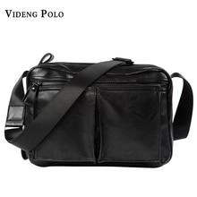 VIDENG POLO Männer Tasche 2017 Neue Marke Leder Herren Schultertasche Messenger Tasche Freizeit Mode Schwarz Crossbody Taschen Für Ipad Männlichen Bolsas