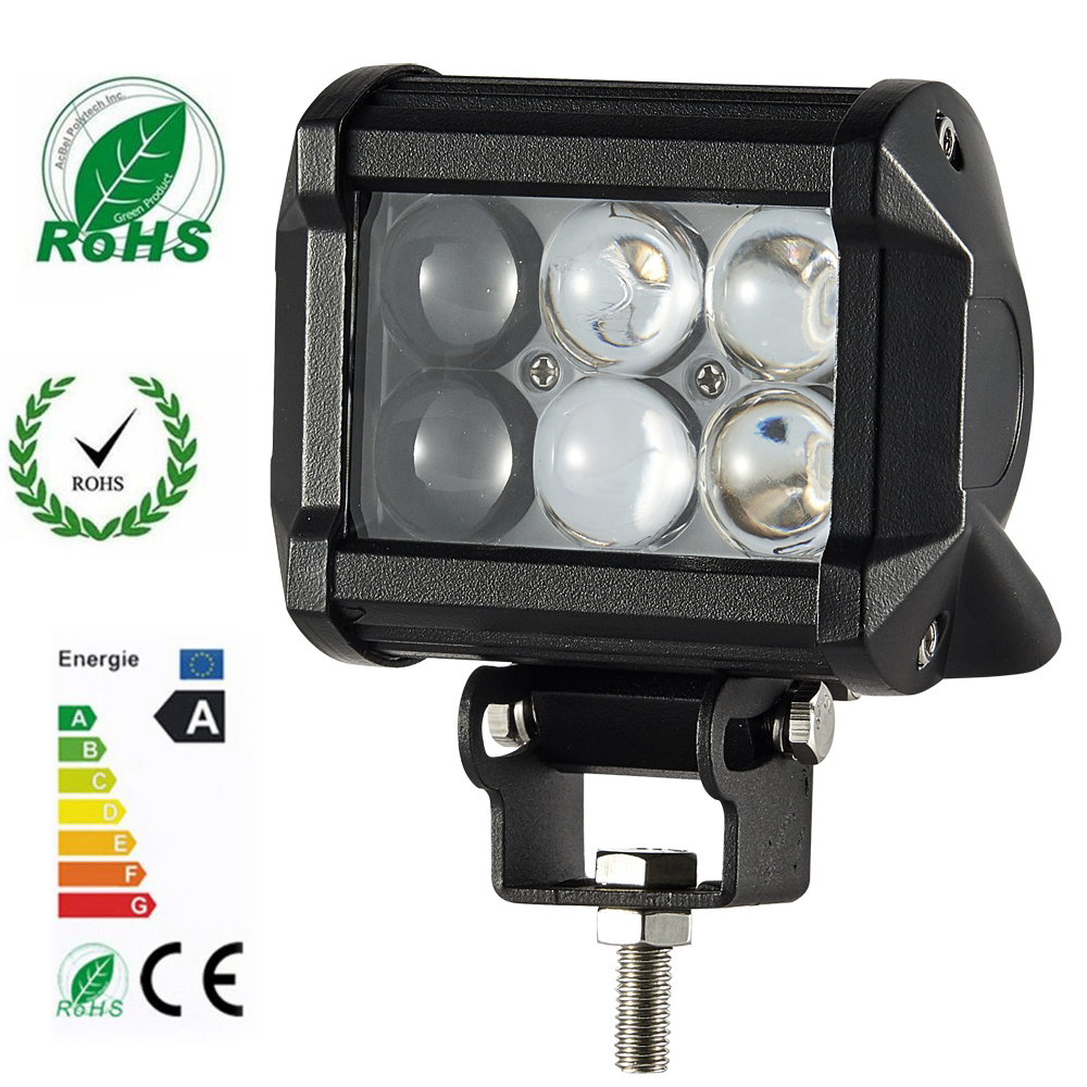 1 4D 18W LED Work Light Lamp for Motorcycle Tractor Boat Off Road 4WD 4X4 Truck SUV ATV Spot 12V 24V 3 Years Warranty