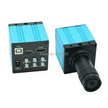 HD 1080P USB Digital Industry Video Inspection Microscope Camera HDMI Set TF Card Video Recorder + Mini 100X C-MOUNT Zoom Lens
