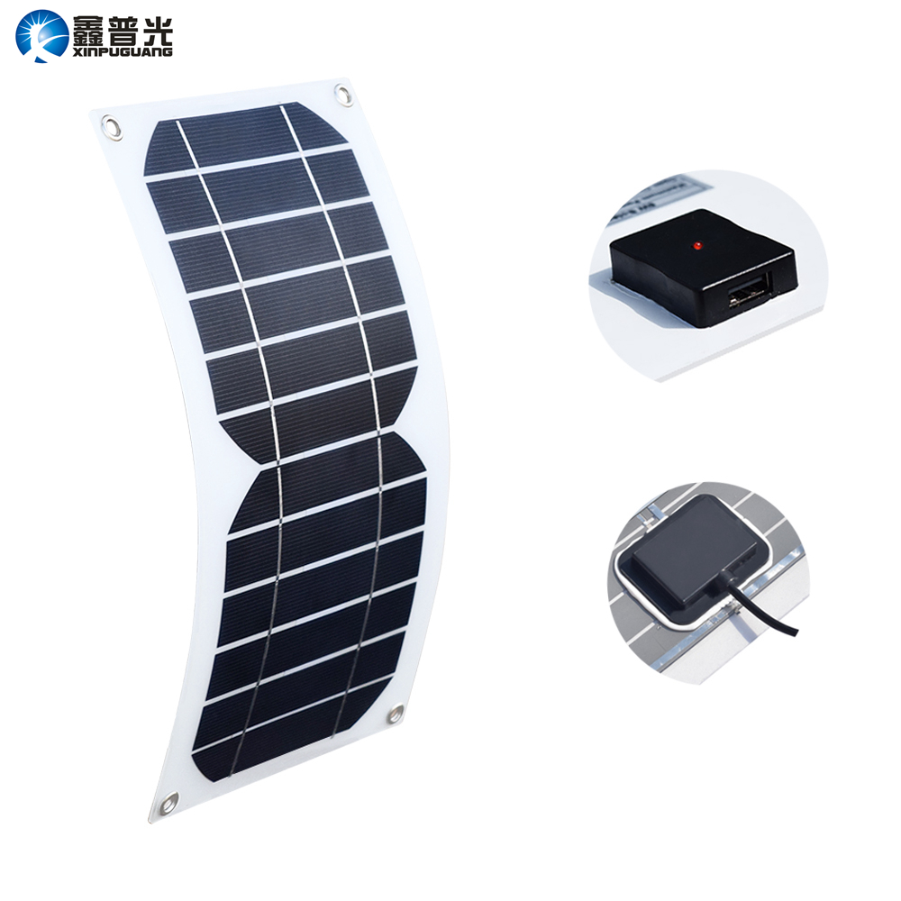 Xinpuguang Solar Panel 5W 6V 1A Semi Flexible Cell USB Output Charger with Voltage Regulator for Mobile Phone Phone Power Bank 12w dual usb folding solar charger solar panel module power bank outdoor emergency cell phone charger voltage current display