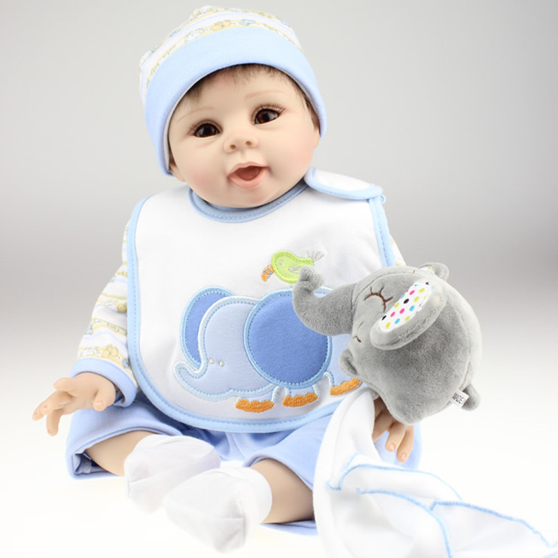 Free Shipping Realistic Doll Reborn 22 Inch Reborn Babies Boy Girl Gift For Children Play House Toys With Gray Suit Juguetes free shipping l wedding gift lovers doll decoration extra large doll juguetes de los cabritos