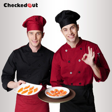 Top quality Cook suit long-sleeve red black chef clothes checkedout cook clothes Unisex chef uniform working clothes