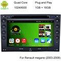 Quad core Cortex A9 1.6 ГГц Емкостный Экран Android 4.4 Автомобильный DVD GPS Для Renault Megane 2003-2008 С 3 Г Wi-Fi DVR OBD + CANBUS
