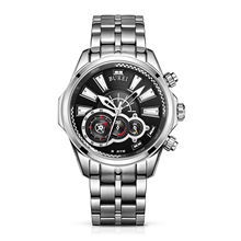 BUREI 17001 Switzerland watches Men's Luminous Chronograph Wrist Watch with Silver Bracelet, Silver Black Bezel Black Dial