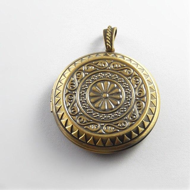 2pcslot Antique Bronze Women Gift Round Locket Wish Box Necklace
