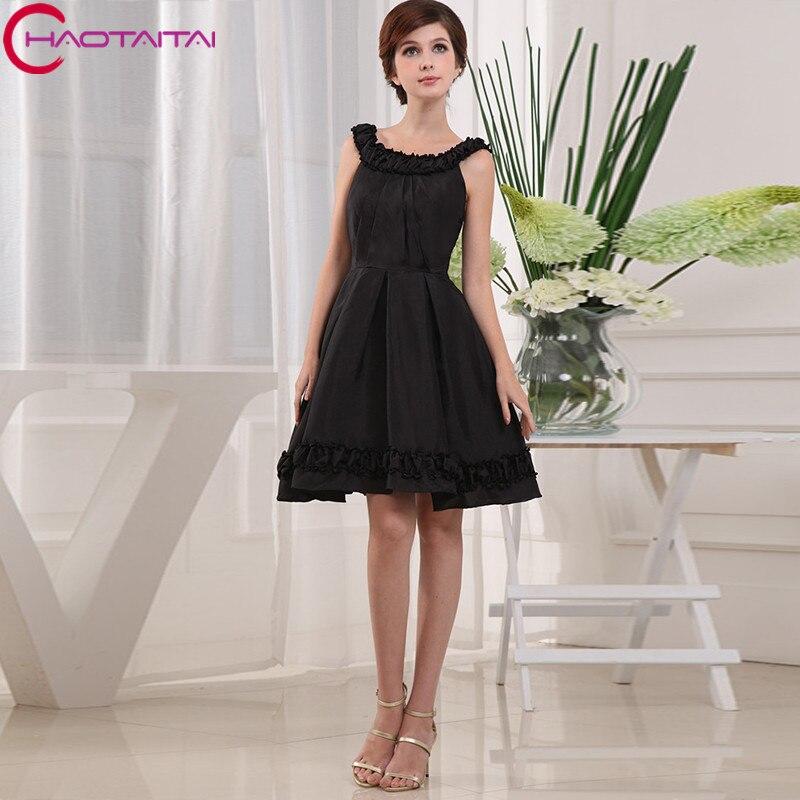Черный Танк шеи элегантный коктейльное платье без рукавов с аппликацией Свадебная вечеринка платье коктейльные платья