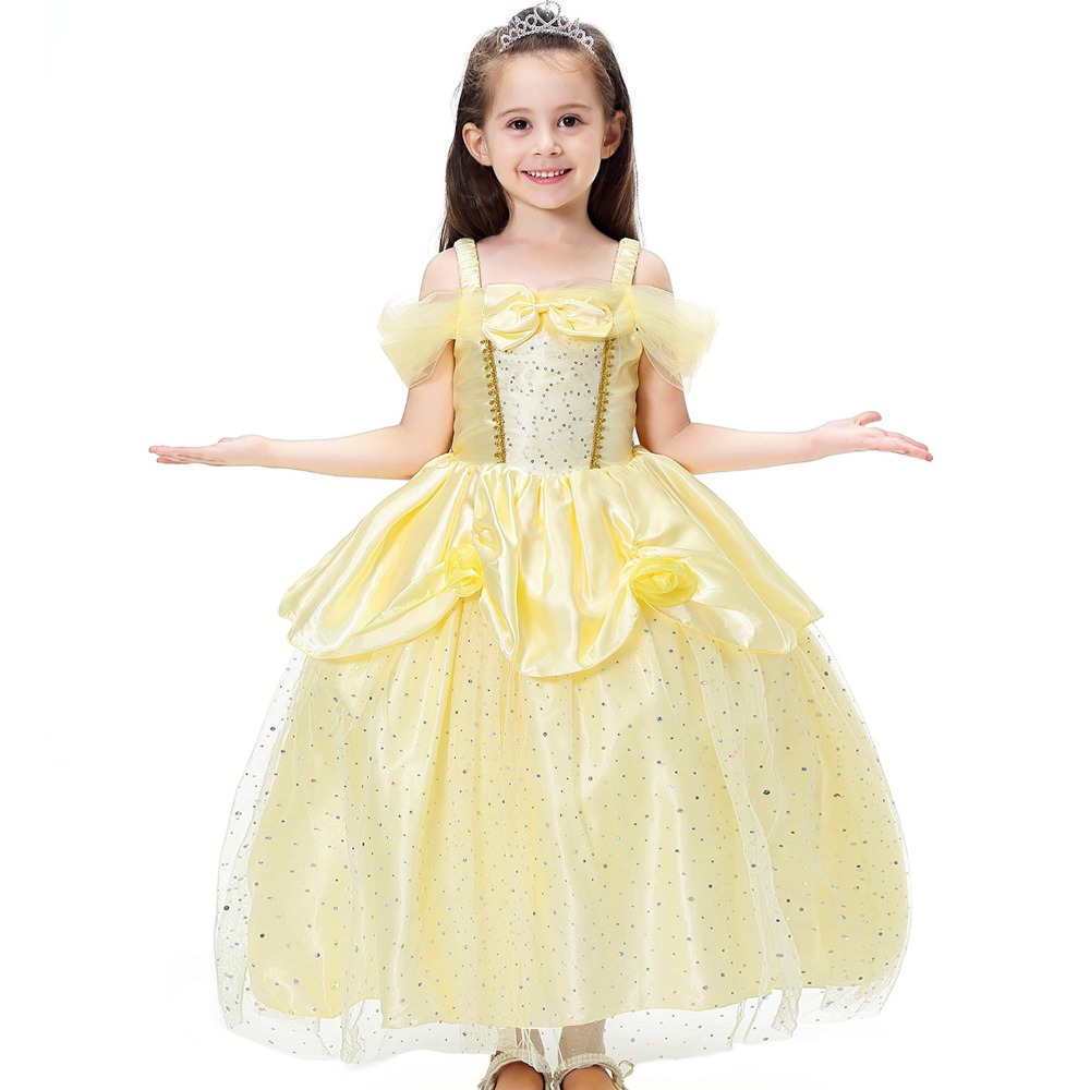 Kids Girl Princess Dress Cosplay Costume Belle Aurora Snow White Dressing Party+