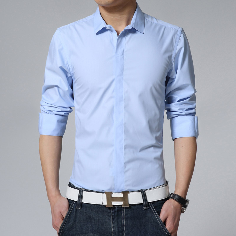 Men's All match front fly elegant small square collar shirt male solid color  slim long sleeve blouse-in Casual Shirts from Men's Clothing & Accessories  on ...