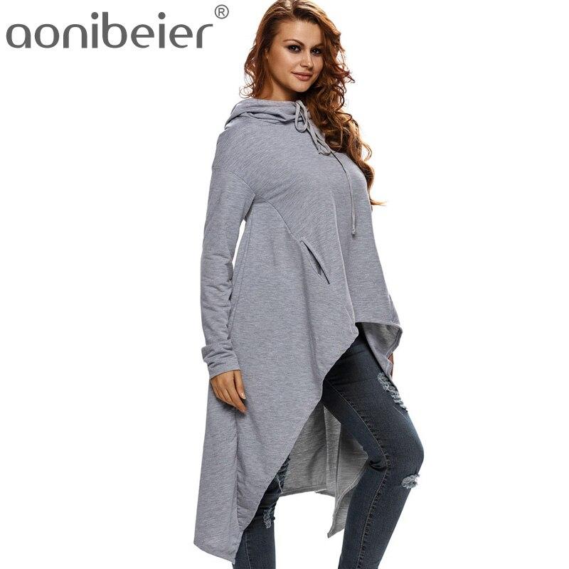 Aonibeier Plus Size Women Long Sleeve Sweatshirts Autumn Ladies Tops Fashion Pocket Pullovers Female Hoodie