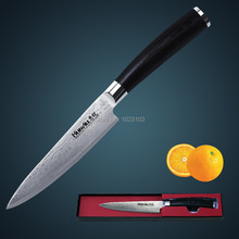 Huiwill brand 5″Japanese damascus VG10 carbon steel kitchen Utility/ Universal knife Fruit chef knife with forged G10 handle