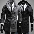 2015 New Brand Winter Men's hooded Woolen coat Business casual Warm Unique Horn button hooded Overcoat for men M-XXL