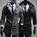 2015 nueva marca invierno hombre de abrigo de lana con capucha casual profesional calientes único botón de la bocina abrigo con capucha para hombre M-XXL