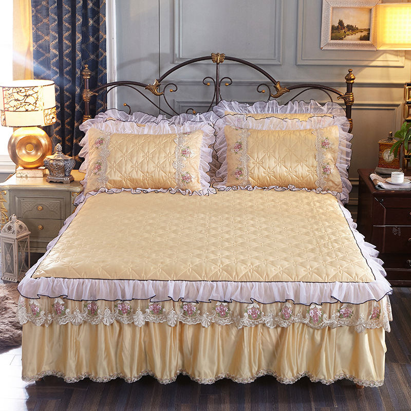 1/3pcs Luxury Cotton Lace Bed Skirt Princess Bed Cover Sheets Pillowcase Embroidered Bedding