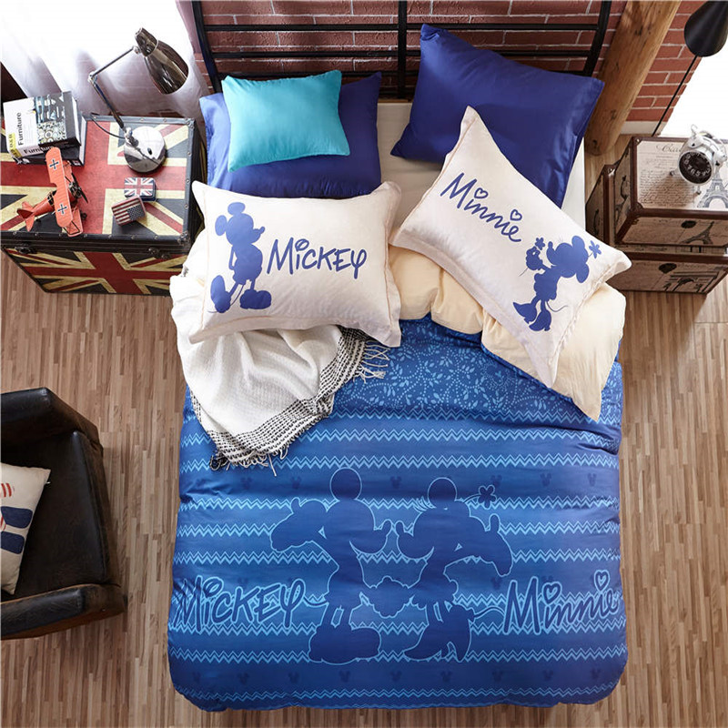 Blue Mickey Minnie Mouse Bedding Sets Cartoon 3D Duvet Cover 3/4/5pc Cotton Single Queen Sizes Children Girl 600tc Bed Sheet Set